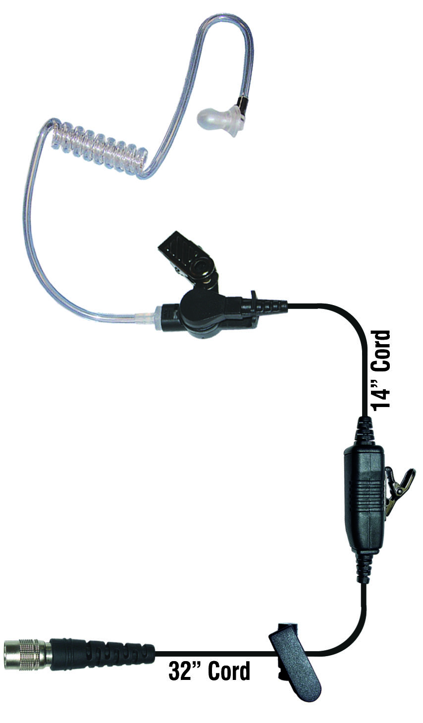 Radio earpiece 1 wire clear tube